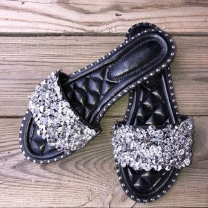13dd6ec008fe0 Shoes -    PRICE IS FIRM   Black Silver rhinestone sandal